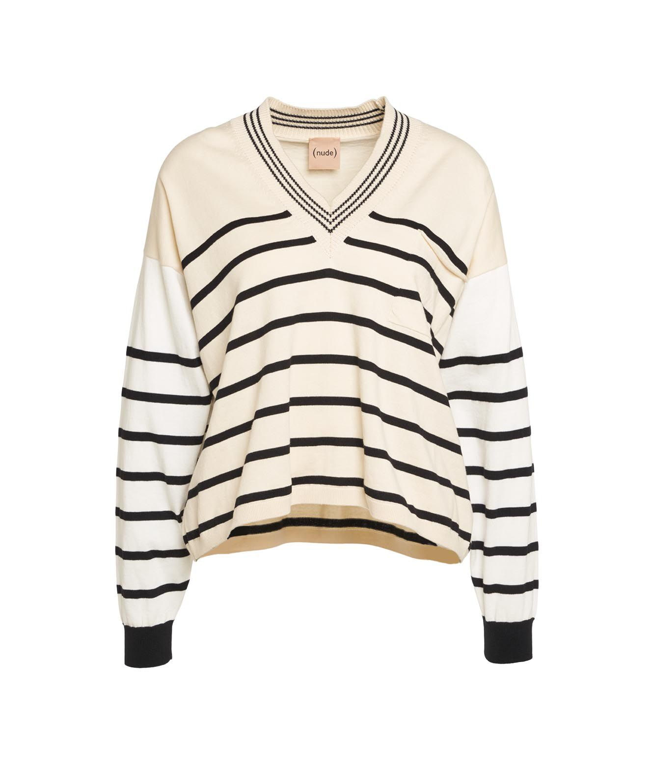 Nude SWEATER WITH CONTRAST STRIPES