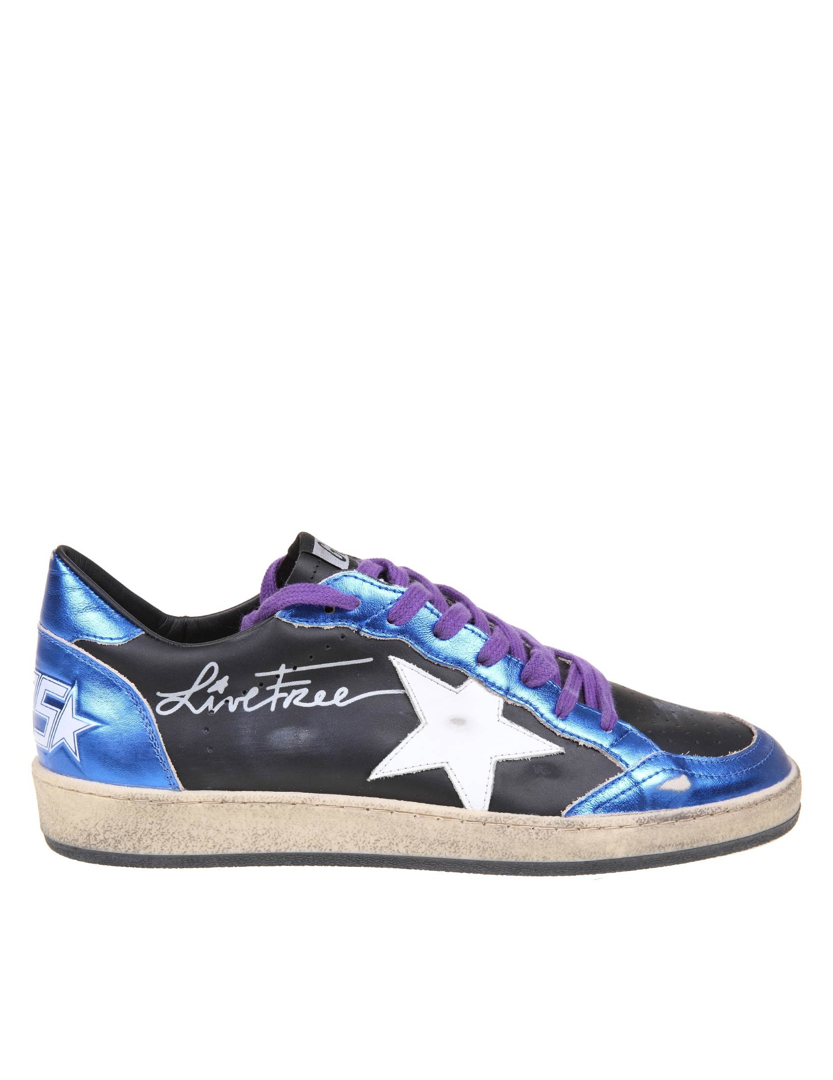 Golden Goose Sneakers GOLDEN GOOSE BALL STAR IN BLACK AND BLUE LAMINATED LEATHER