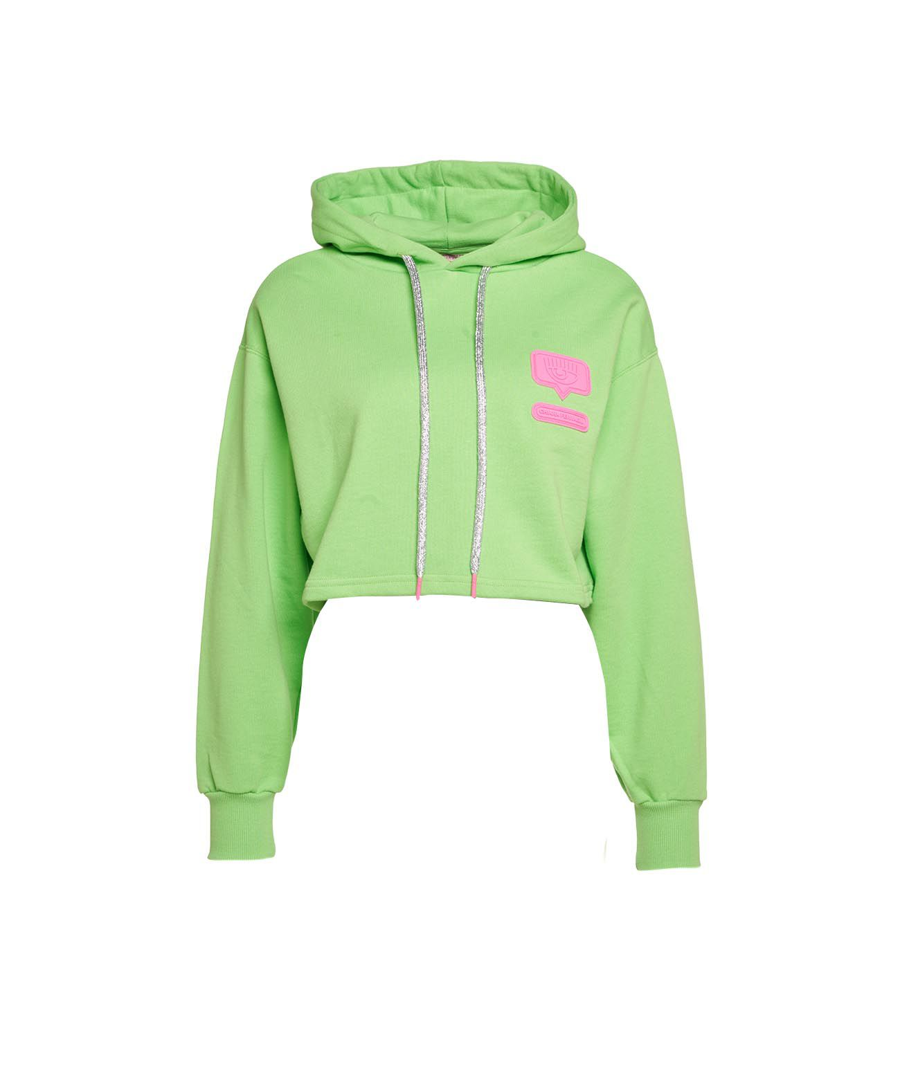 Chiara Ferragni Cottons CROPPED HOODIE WITH LOGOPATCH