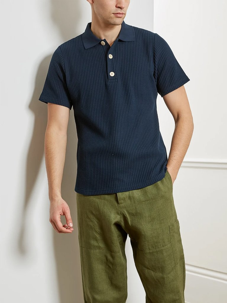 Oliver Spencer Cottons TABLEY POLO SHIRT IN PAVIS NAVY
