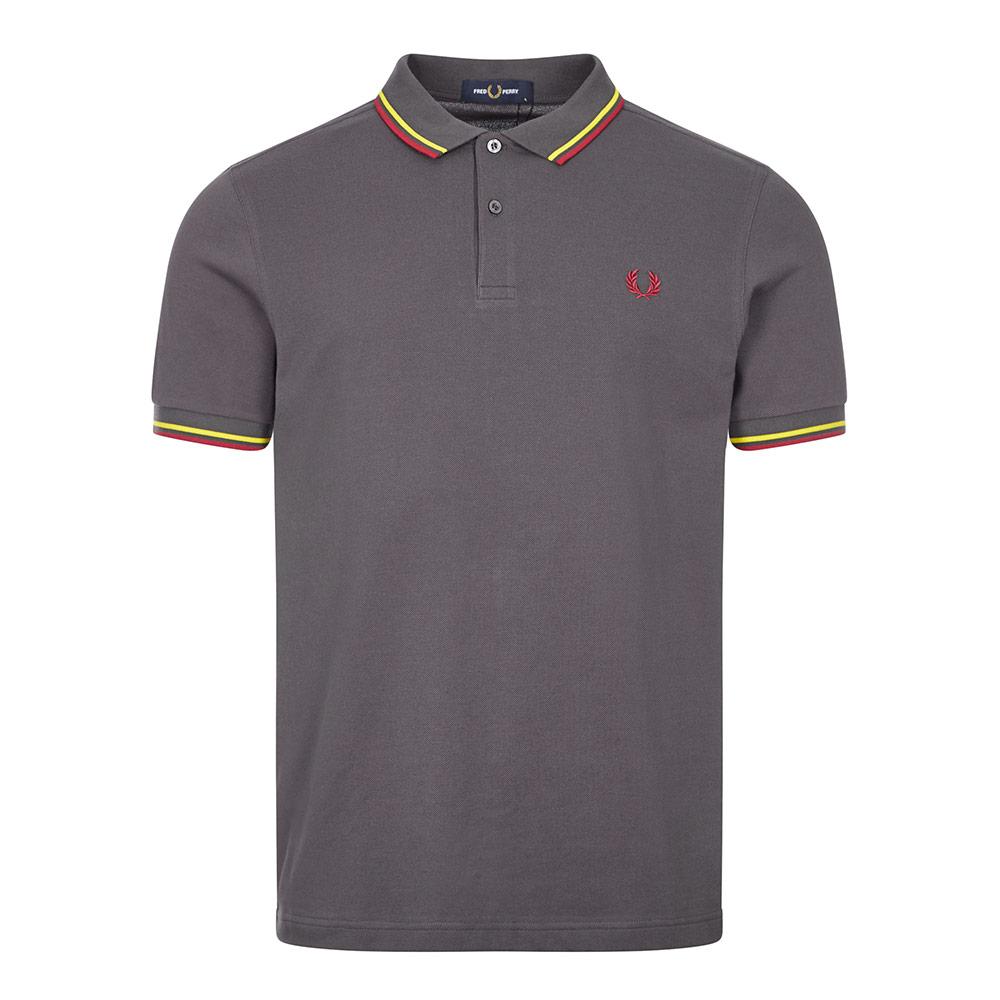 Fred Perry POLO SHIRT TWIN TIPPED - GUNMETAL