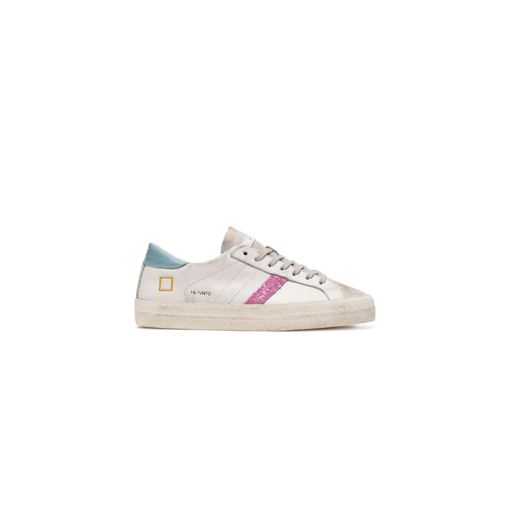 D.a.t.e. DATE SNEAKERS HILL LOW VINTAGE CALF - WHITE SKY