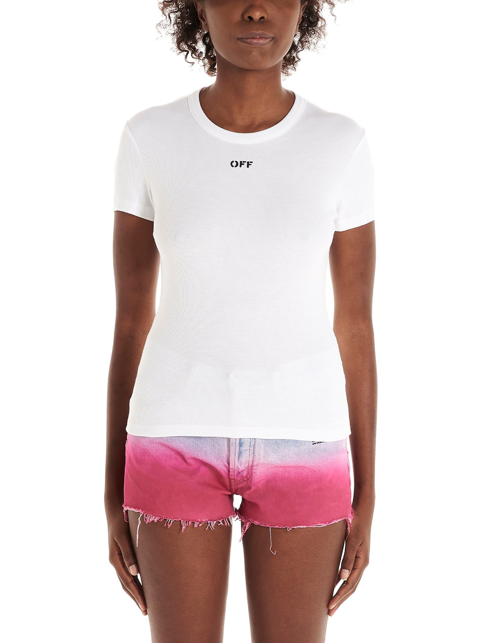 Off-White OFF-WHITE WOMEN'S OWAA065S21JER0010100 WHITE OTHER MATERIALS T-SHIRT
