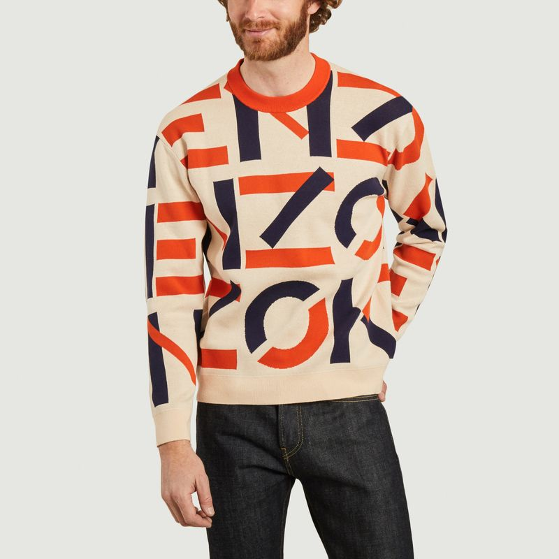 Kenzo Sport Jacquard Monogram Jumper In Blush Multi
