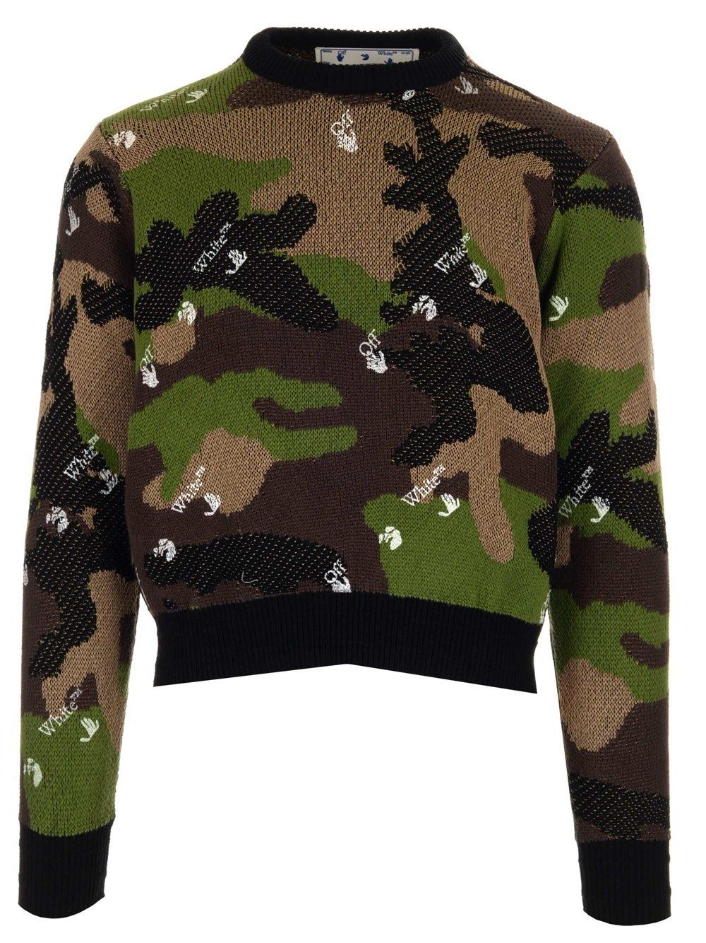 Off-White Cottons OFF-WHITE MEN'S OMHE083S21KNI0015600 GREEN OTHER MATERIALS SWEATER