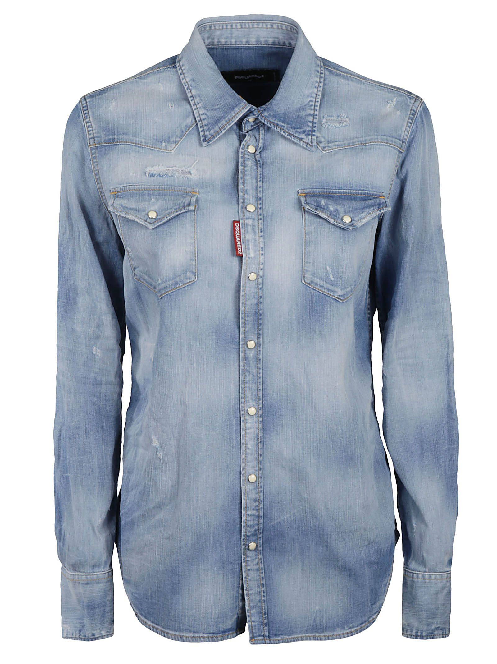 Dsquared2 Cottons DSQUARED2 WOMEN'S S72DL0671S30341470 BLUE OTHER MATERIALS SHIRT