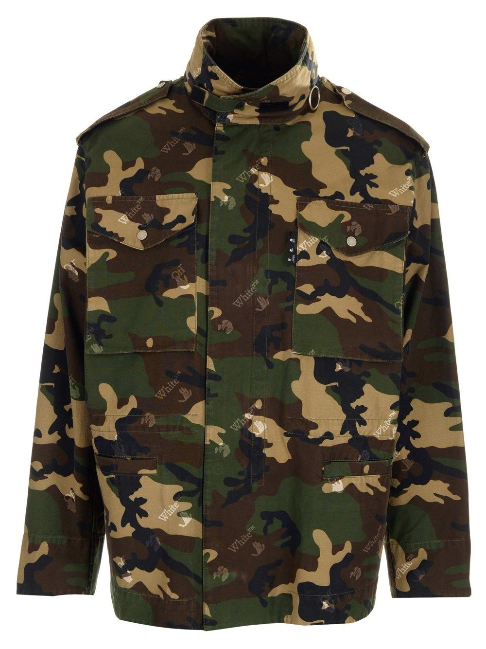Off-White Cottons OFF-WHITE MEN'S OMEL015S21FAB0015600 GREEN OTHER MATERIALS OUTERWEAR JACKET