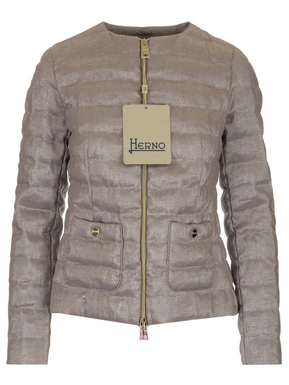 Herno HERNO WOMEN'S PI1274D171049409 SILVER OTHER MATERIALS DOWN JACKET