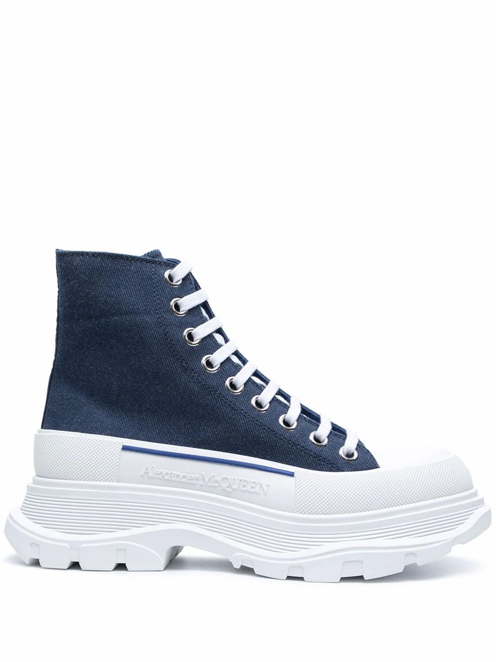 Mcq By Alexander Mcqueen Ankle highs MCQ BY ALEXANDER MCQUEEN WOMEN'S 611706W4PD14177 BLUE COTTON ANKLE BOOTS