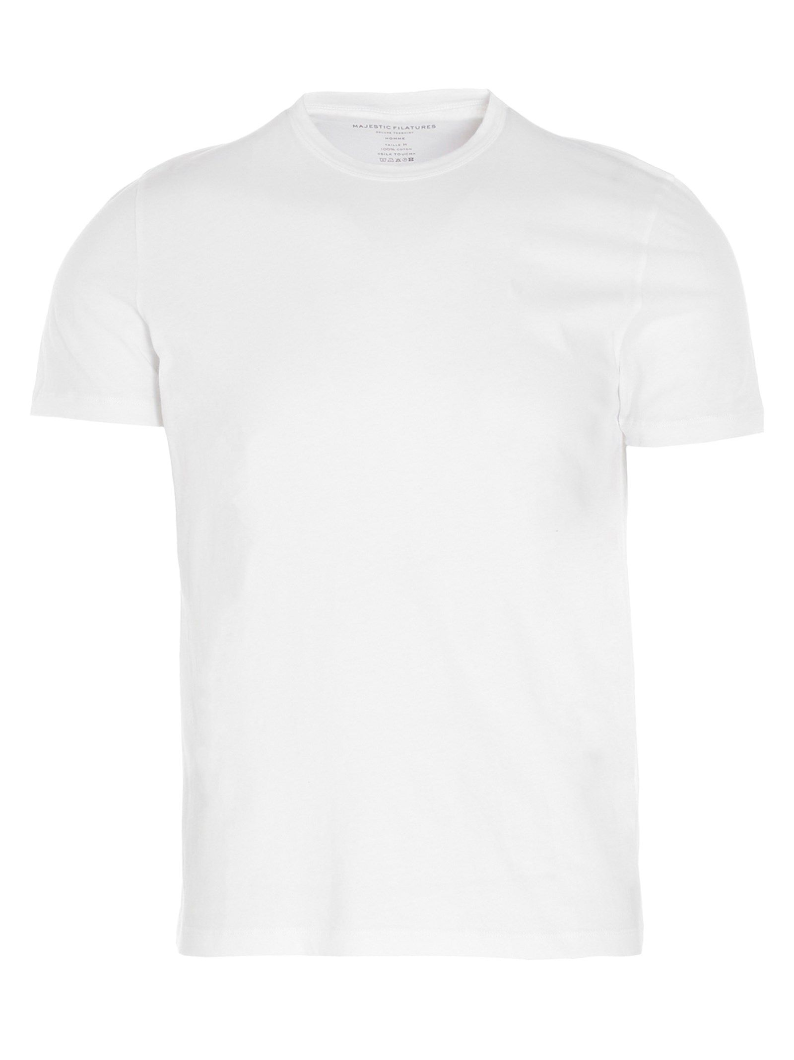 Majestic Cottons MAJESTIC FILATURES MEN'S HTS084M537001 WHITE OTHER MATERIALS T-SHIRT