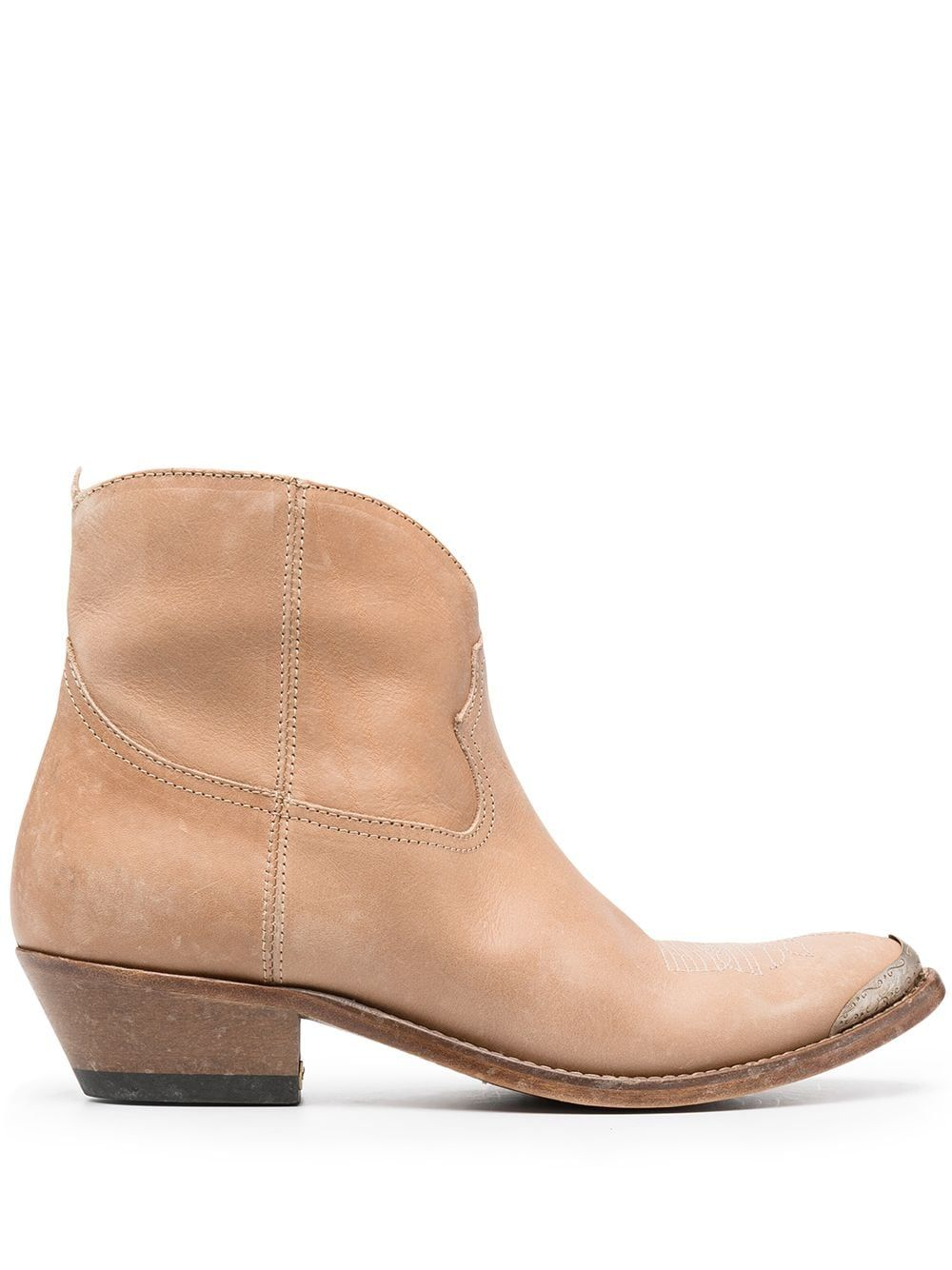 Golden Goose Leathers GOLDEN GOOSE WOMEN'S GWF00131F00088255398 BEIGE LEATHER ANKLE BOOTS