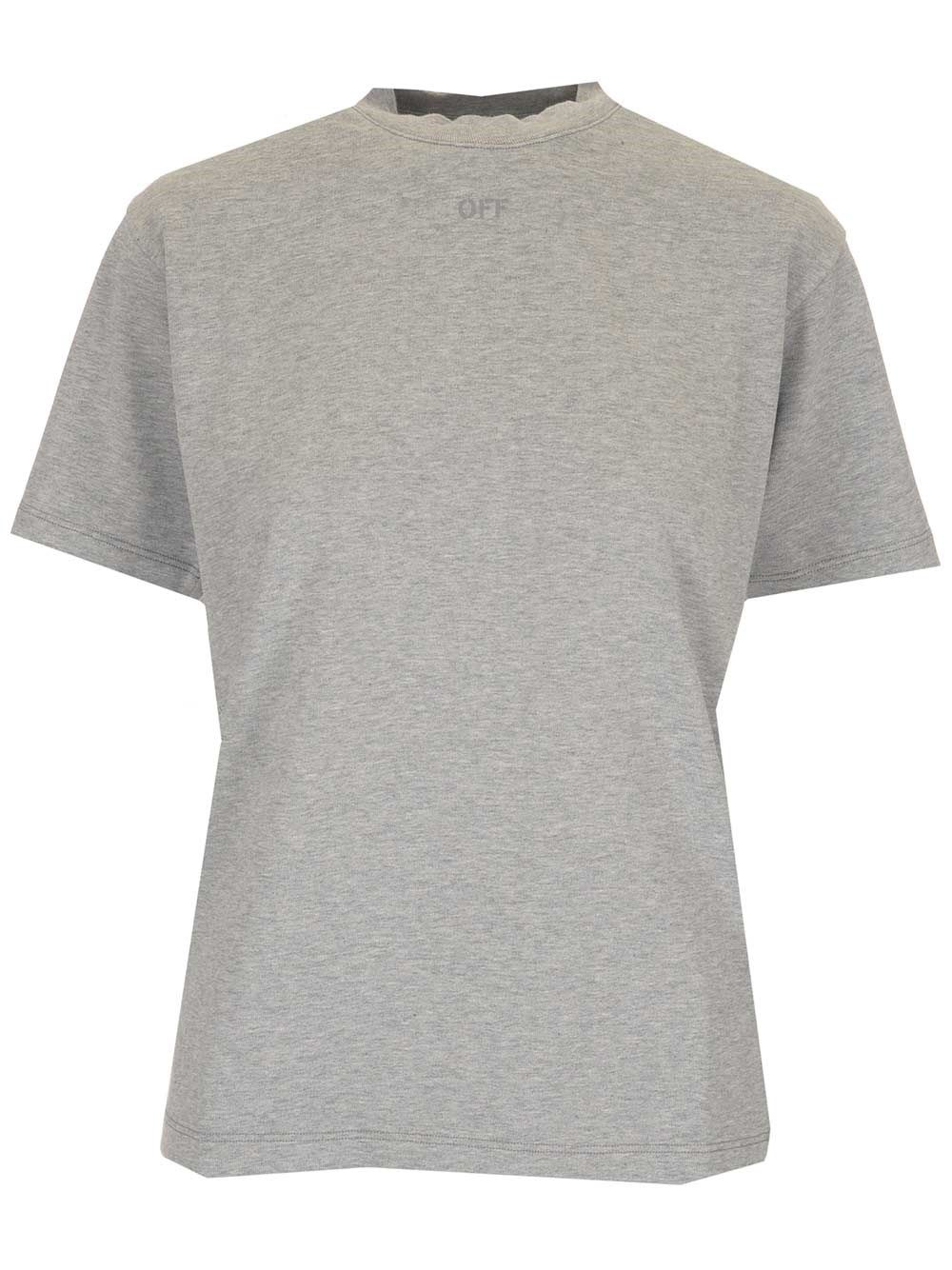 Off-White OFF-WHITE WOMEN'S OWAA049S21JER0010808 GREY OTHER MATERIALS T-SHIRT