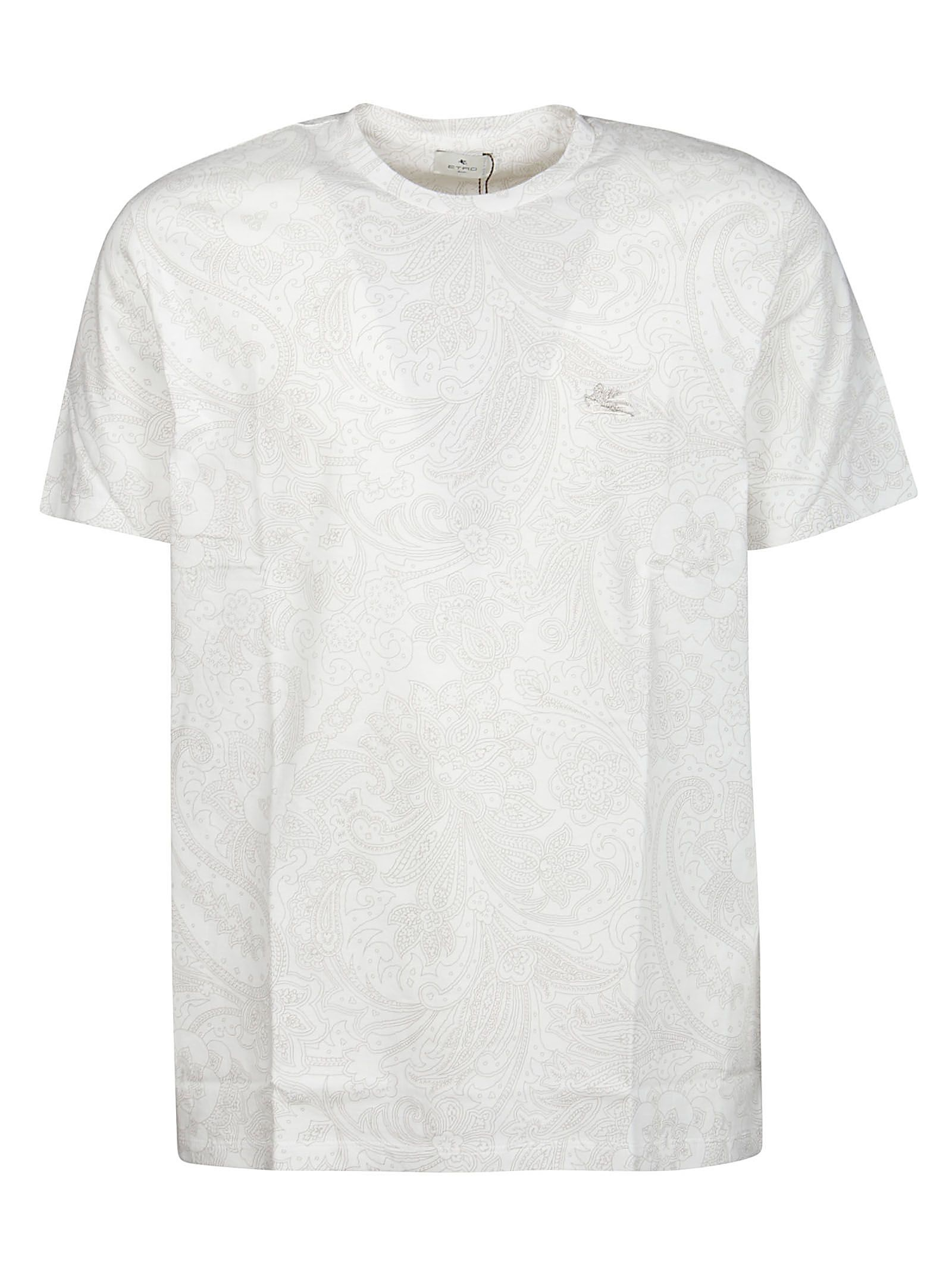 Etro Cottons ETRO MEN'S 1Y02099800991 WHITE OTHER MATERIALS T-SHIRT