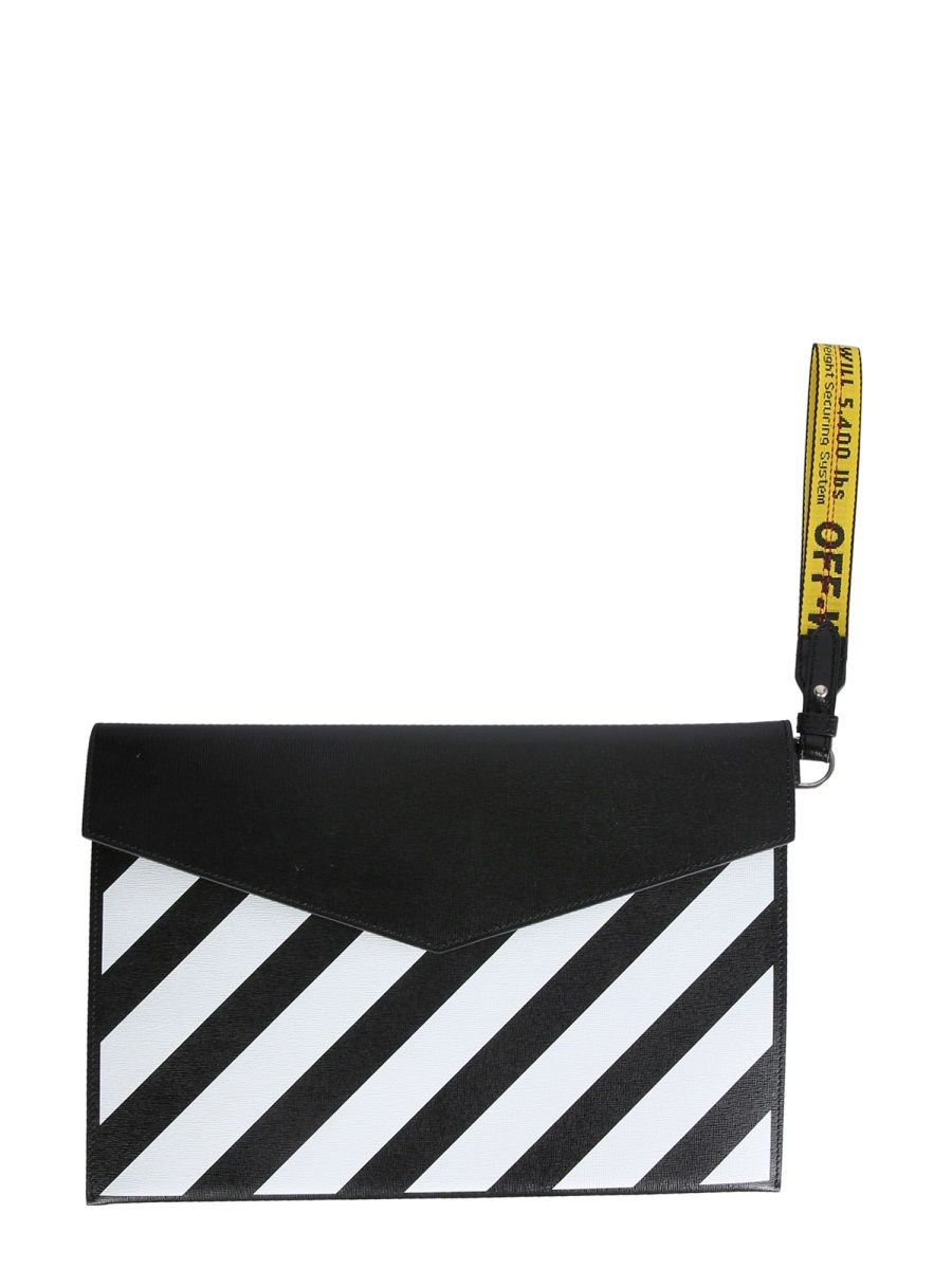Off-White Pouches OFF-WHITE MEN'S OMNM008S21LEA0011001 BLACK OTHER MATERIALS POUCH