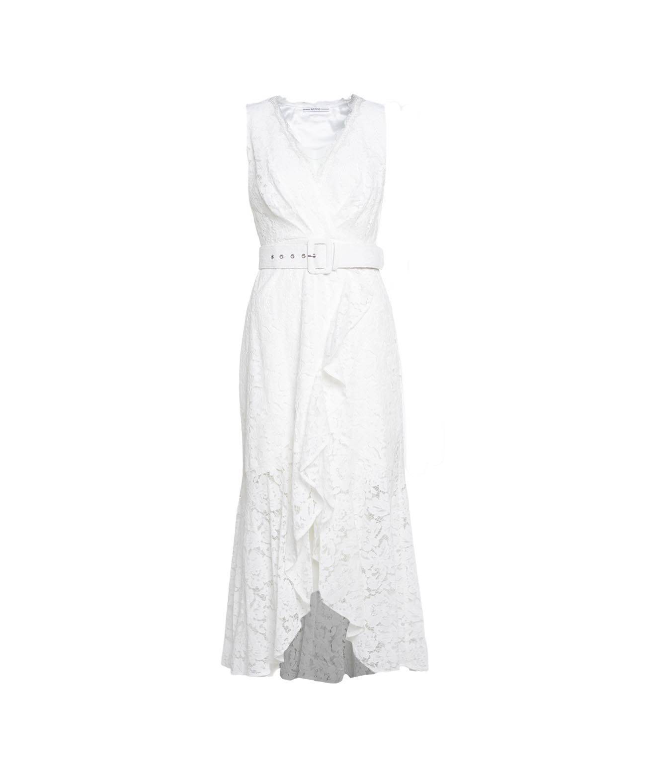 Guess Dresses GUESS WOMEN'S W1GK0VWDW3011TWHT WHITE OTHER MATERIALS DRESS