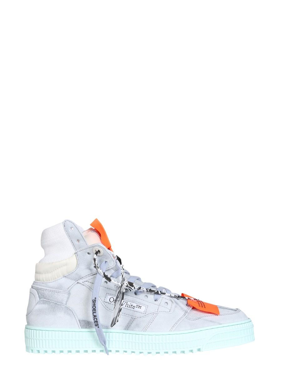 Off-White Leathers OFF-WHITE MEN'S OMIA065S21LEA0016145 LIGHT BLUE LEATHER HI TOP SNEAKERS