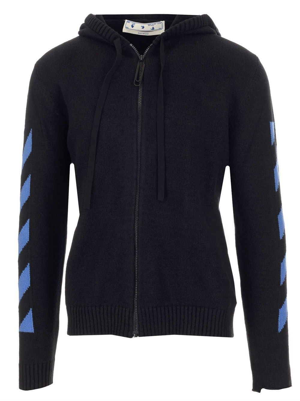 Off-White Cottons OFF-WHITE MEN'S OMHA080S21KNI0011045 BLACK OTHER MATERIALS CARDIGAN