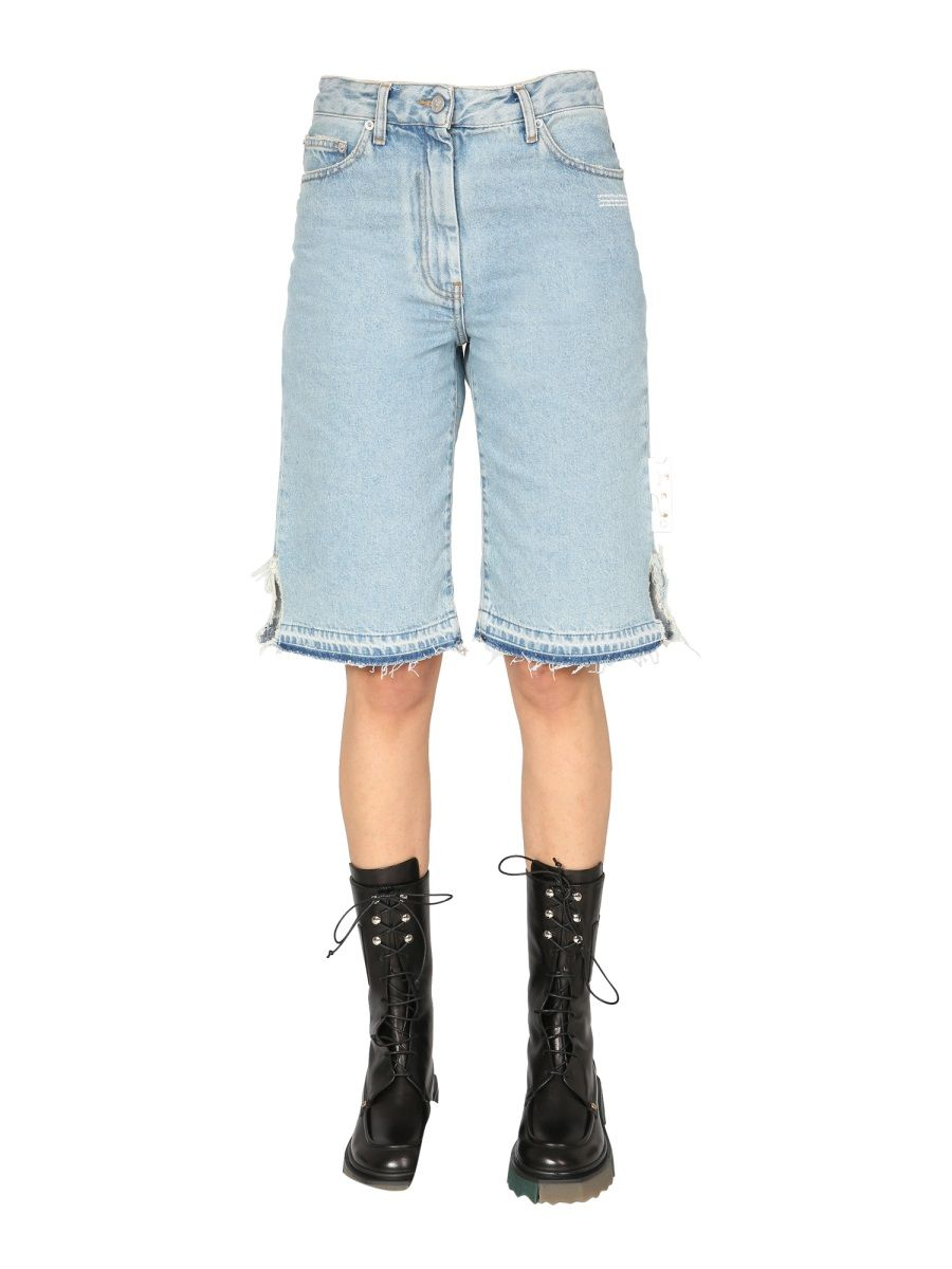 Off-White OFF-WHITE WOMEN'S OWYC005S21DEN0034000 BLUE OTHER MATERIALS SHORTS