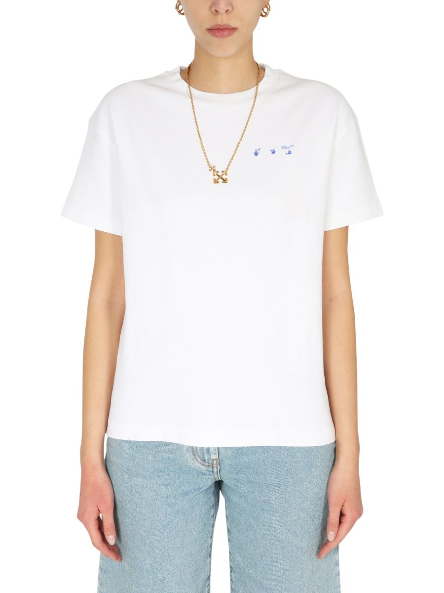 Off-White Cottons OFF-WHITE WOMEN'S OWAA089S21JER0010145 WHITE OTHER MATERIALS T-SHIRT