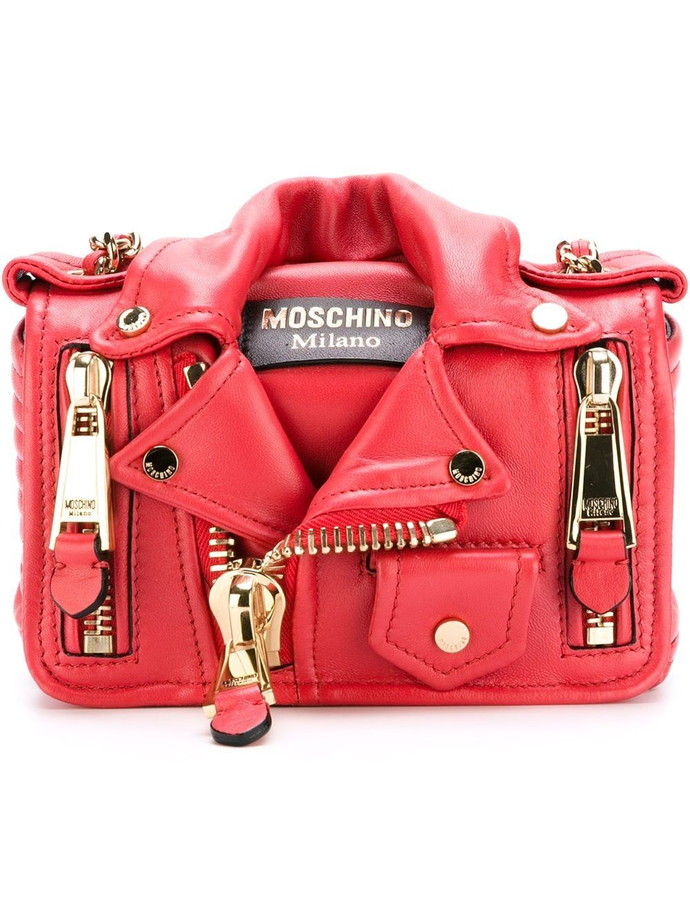 Moschino Leathers MOSCHINO WOMEN'S A743080020115 RED LEATHER SHOULDER BAG