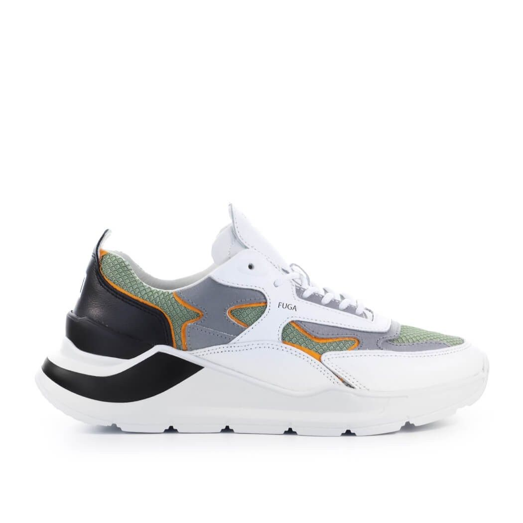 D.a.t.e. Leathers WOMEN'S M341FGFHAR WHITE LEATHER SNEAKERS