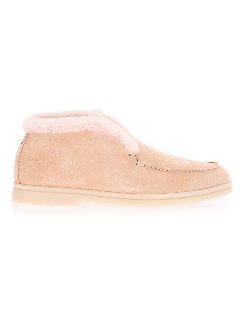 Loro Piana Boots LORO PIANA WOMEN'S FAG36023873 PINK LEATHER ANKLE BOOTS