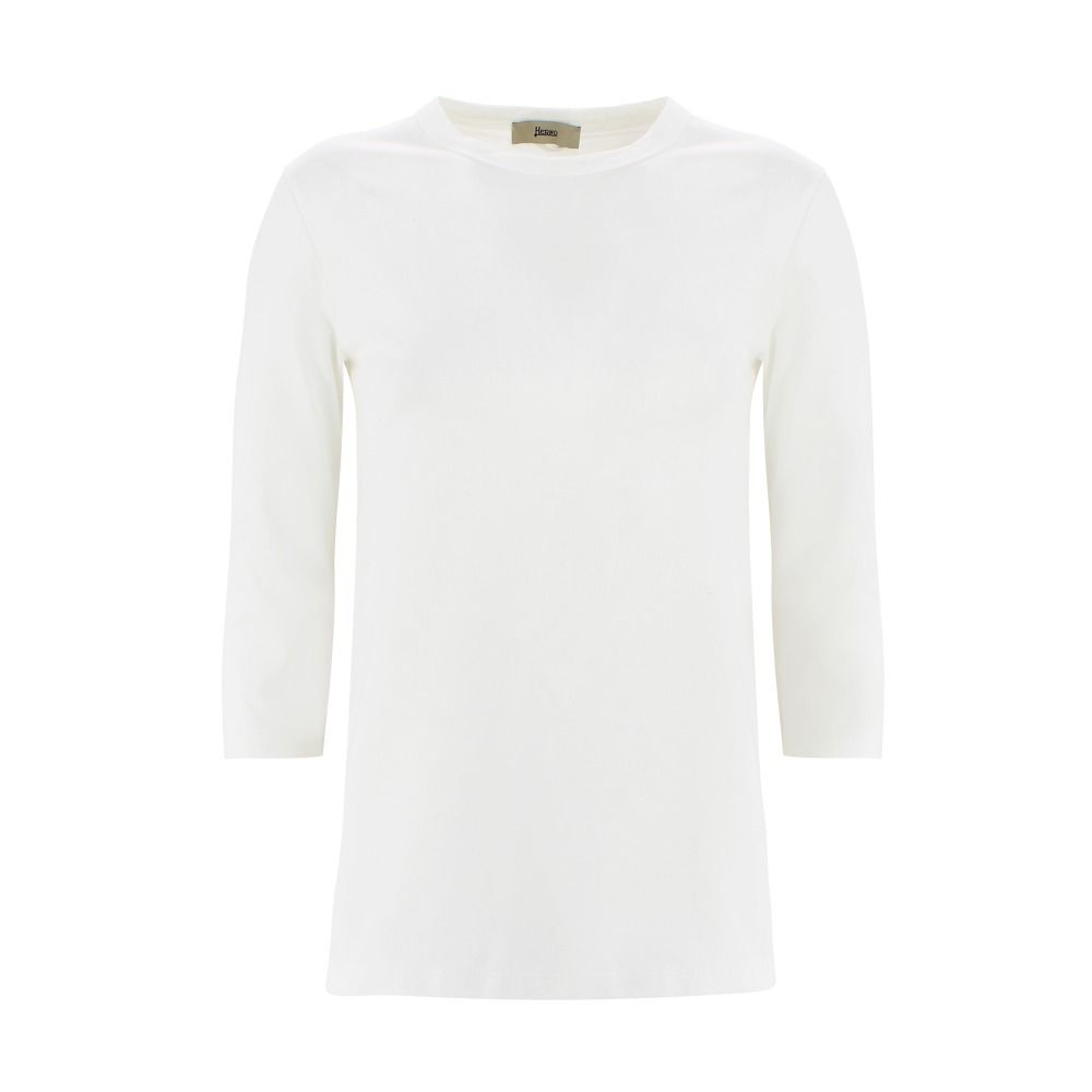 Herno Cottons HERNO WOMEN'S JG0007D520061000 WHITE COTTON T-SHIRT