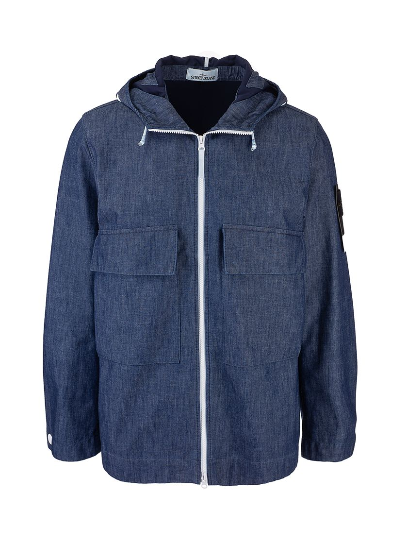 Stone Island Jackets STONE ISLAND MEN'S 741543747WASH LIGHT BLUE OTHER MATERIALS OUTERWEAR JACKET