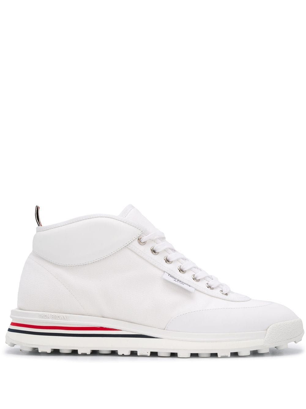 Thom Browne Shoes THOM BROWNE MEN'S MFD211A05390100 WHITE COTTON HI TOP SNEAKERS