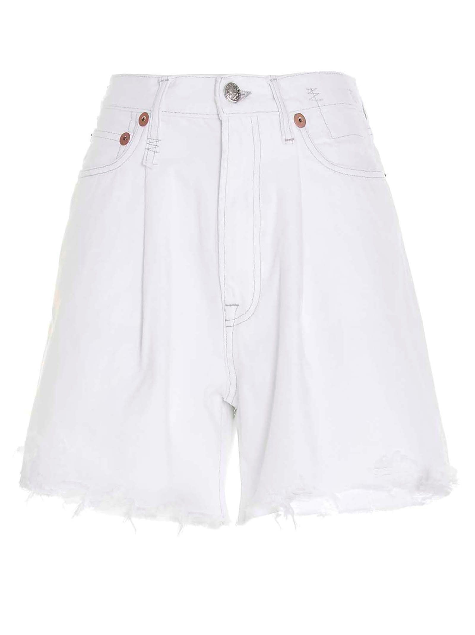 R13 Cottons W3148910B8S21A WHITE OTHER MATERIALS SHORTS