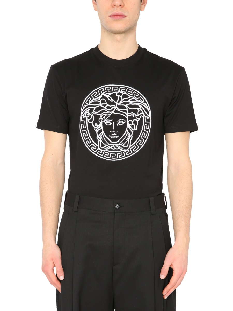 Versace T-SHIRT WITH MEDUSA EMBROIDERED