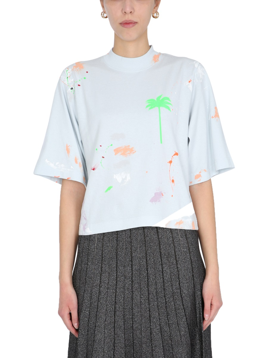 Palm Angels T-shirts PAINTED TEE ILLUSION T-SHIRT