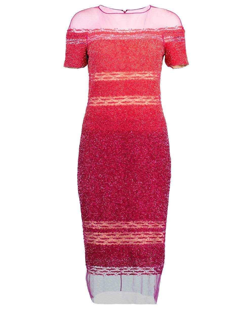 Coral and Fuchsia Ombre Sequin Embroidered Cocktail Dress