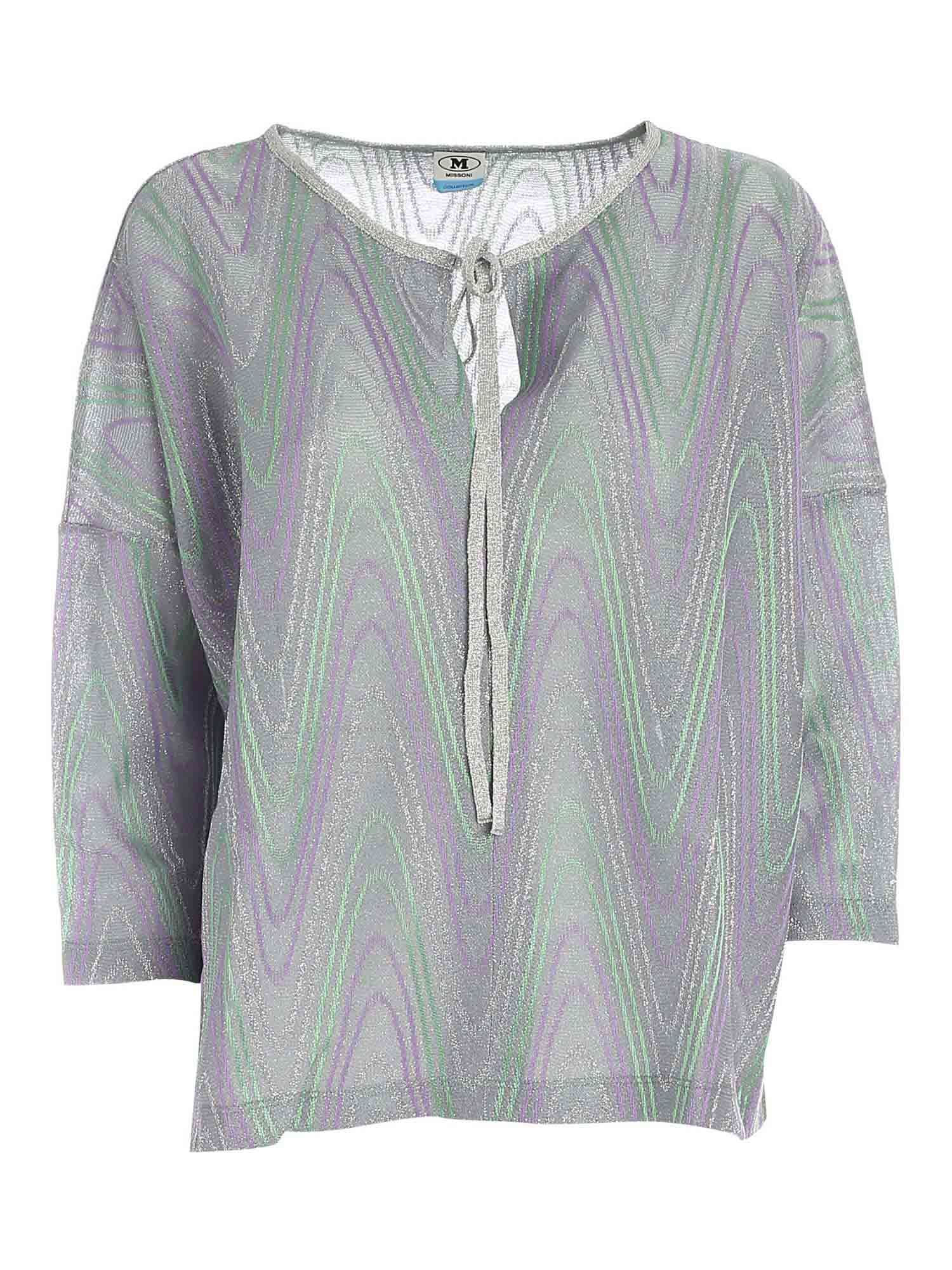 M Missoni LAM BOXY BLOUSE IN GREEN, PURPLE AND SILVER