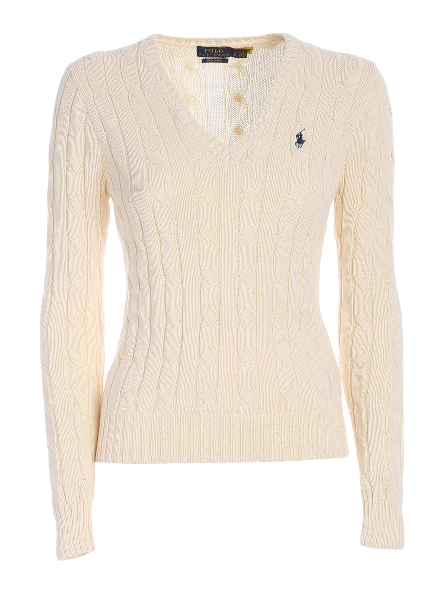 Polo Ralph Lauren Cottons LOGO EMBROIDERY SWEATER IN CREAM COLOR