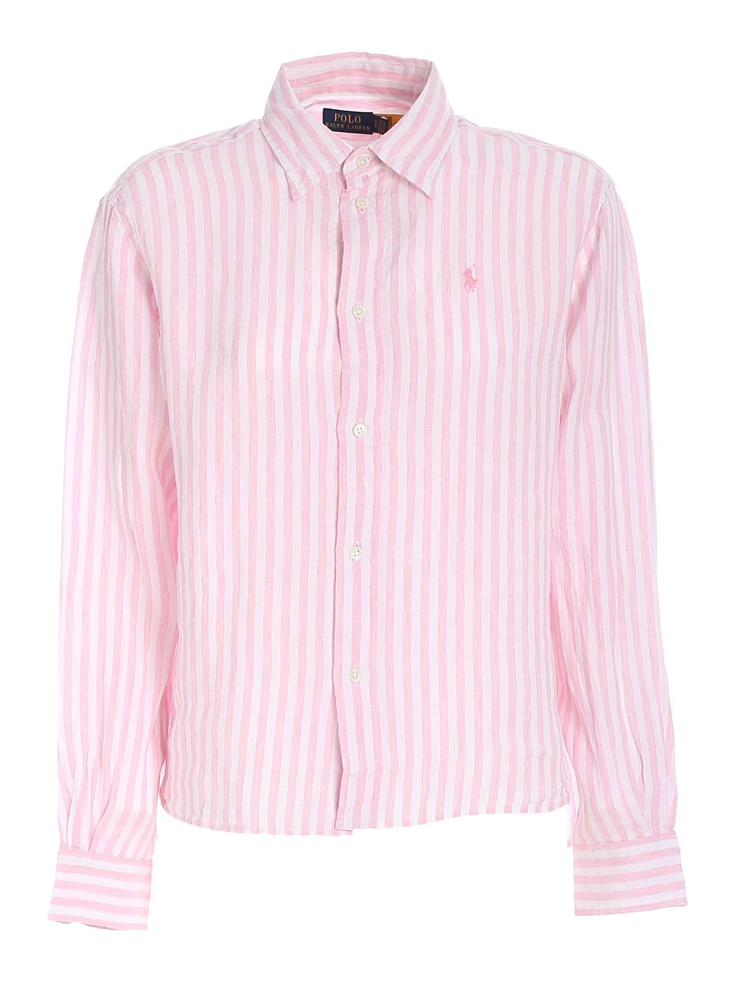 Polo Ralph Lauren Linens LOGO STRIPED SHIRT IN PINK AND WHITE