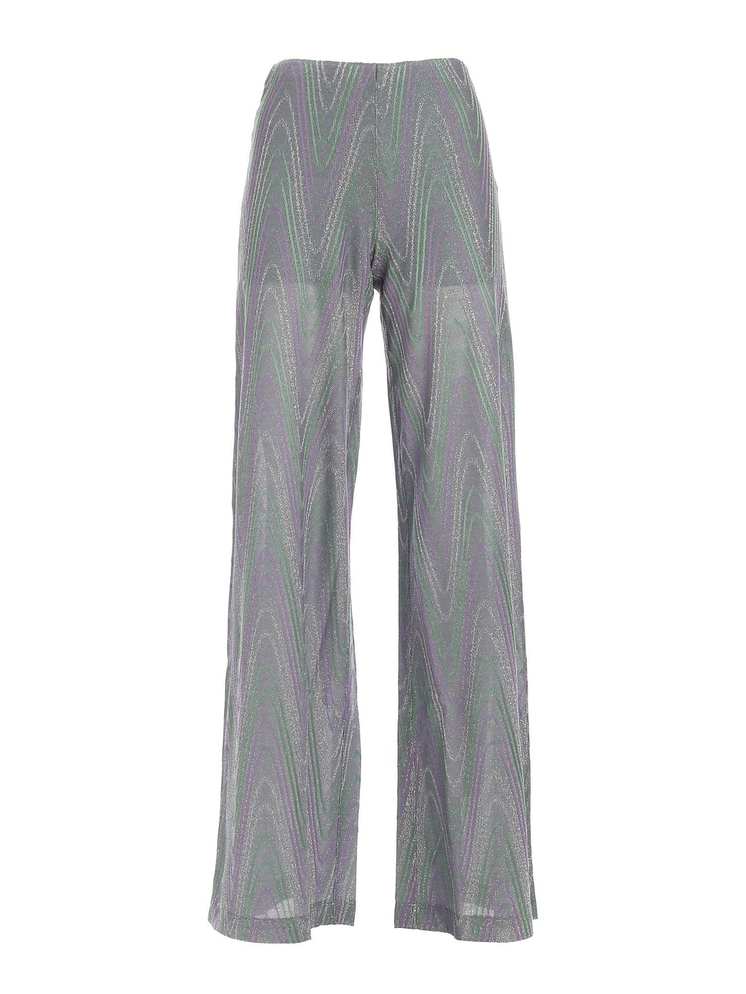 M Missoni Cottons LAM KNITTED PANTS IN GREEN AND PURPLE