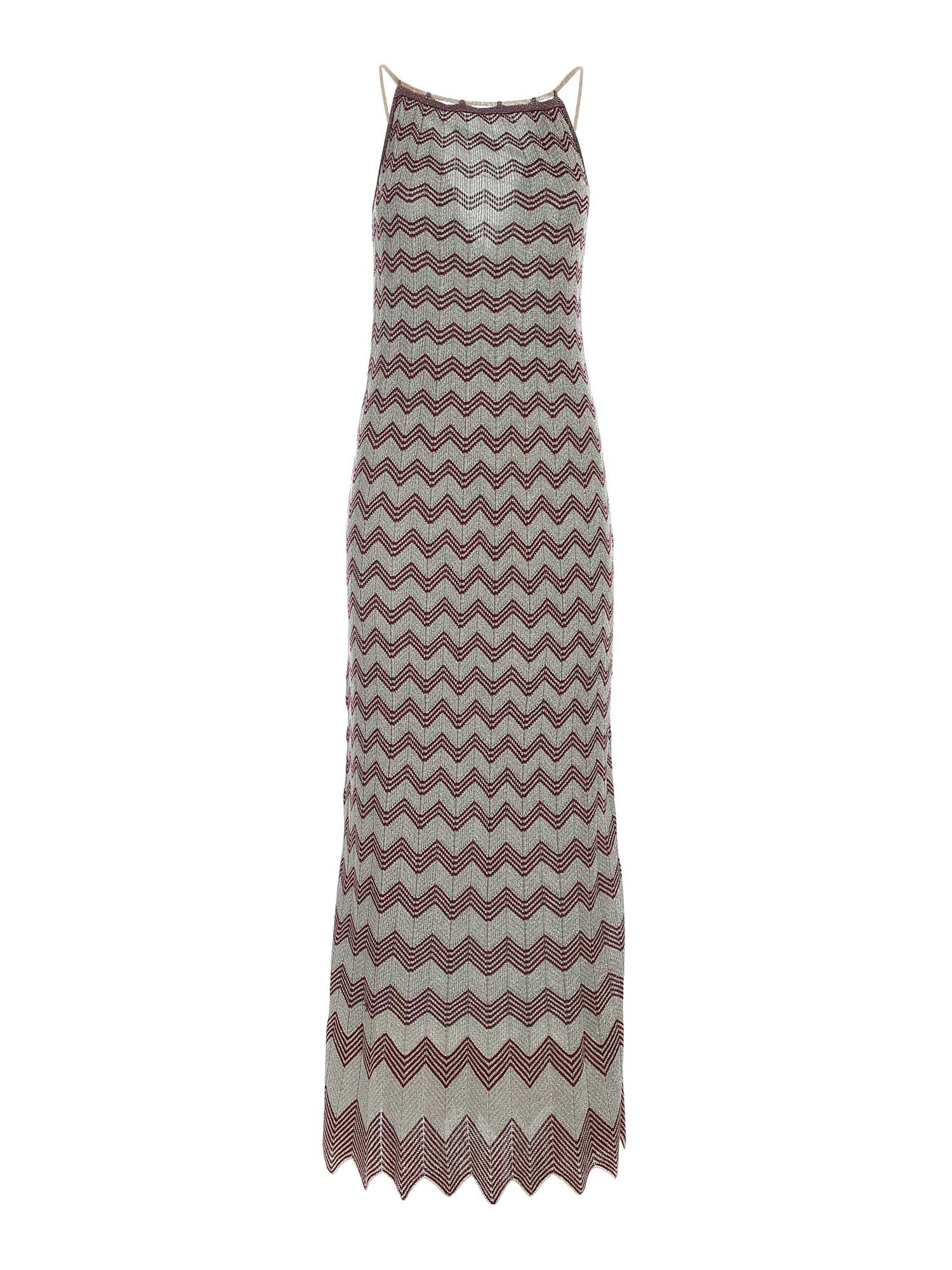 M Missoni LAM KNITTED DRESS IN LIGHT BLUE AND GOLD