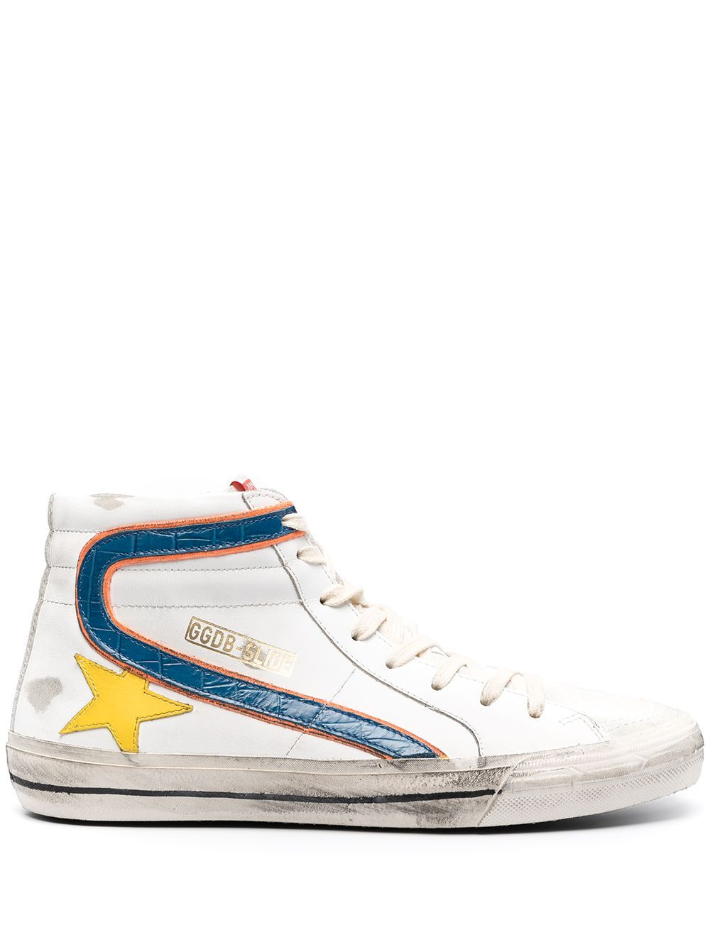 Golden Goose Leathers GOLDEN GOOSE MEN'S GMF00115F00112210508 WHITE LEATHER HI TOP SNEAKERS