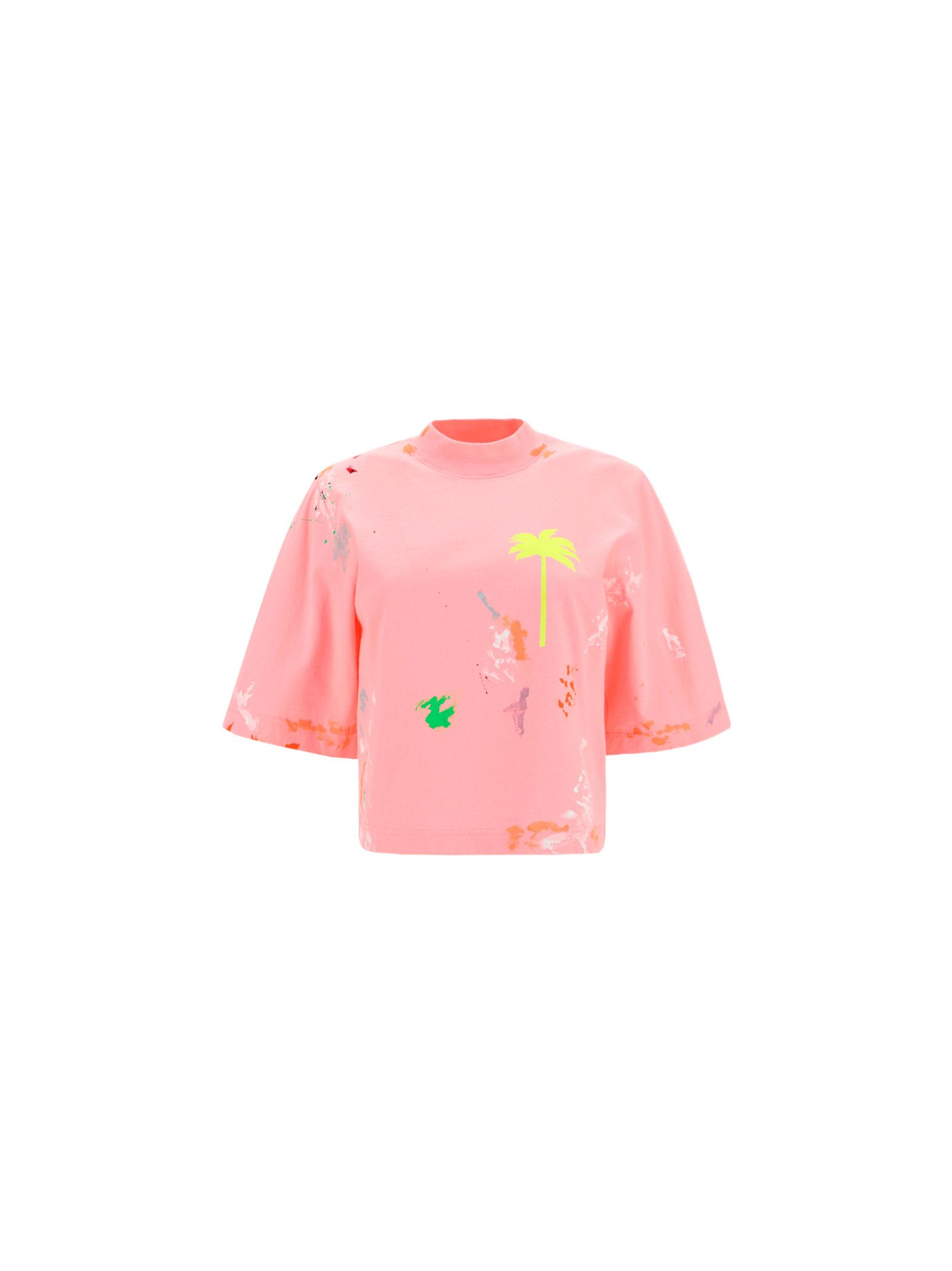 Palm Angels Cottons PALM ANGELS WOMEN'S PWAA020S21JER0043465 PINK OTHER MATERIALS T-SHIRT