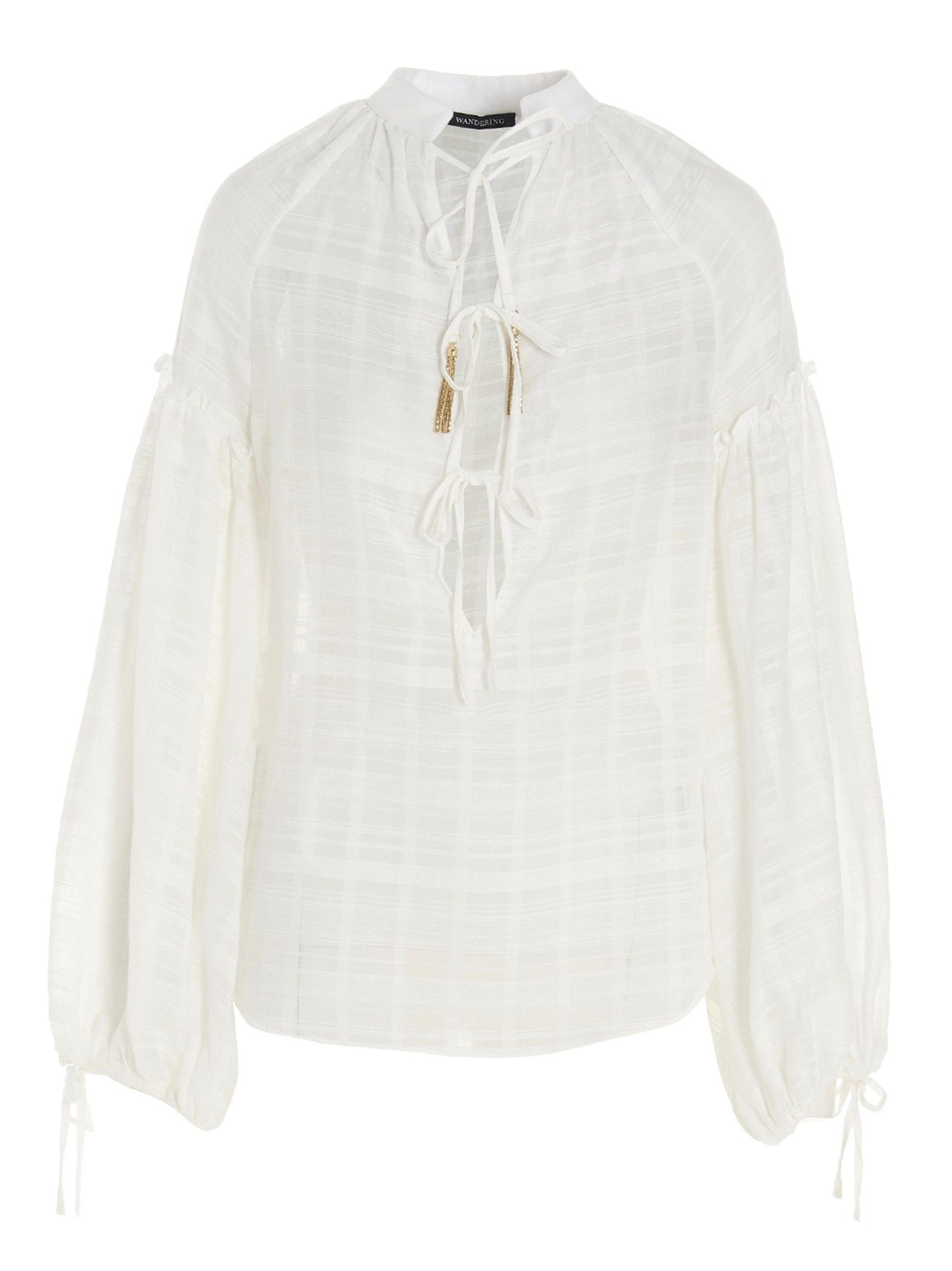 Wandering Blouses WANDERING WOMEN'S WGS21205081 WHITE COTTON BLOUSE