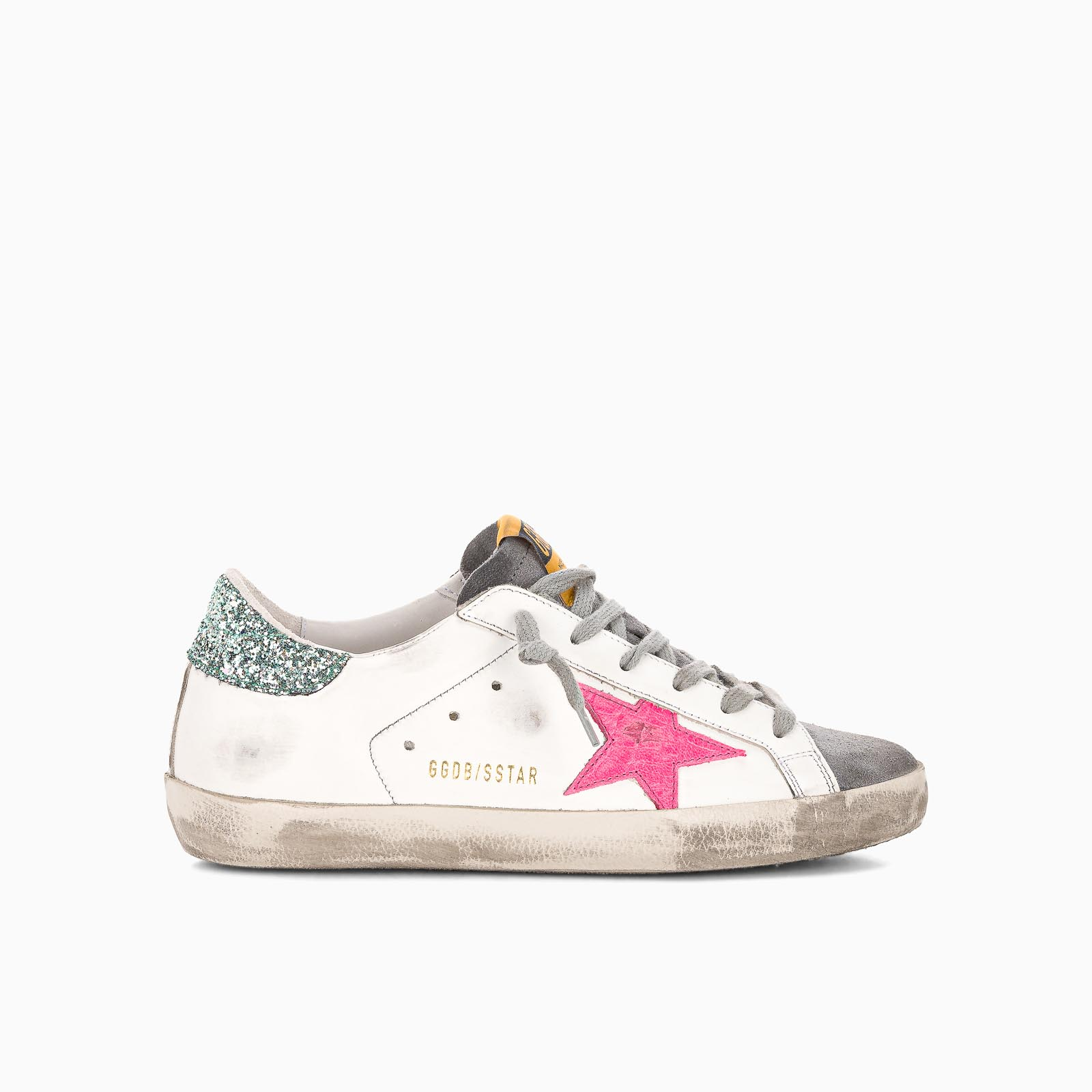 Golden Goose WHITE LEATHER SUPER-STAR SNEAKERS WITH GLITTERY HEEL TAB