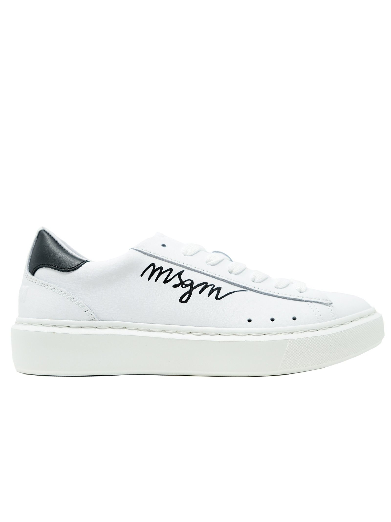Msgm WOMEN'S 3041MDS11038 WHITE LEATHER SNEAKERS