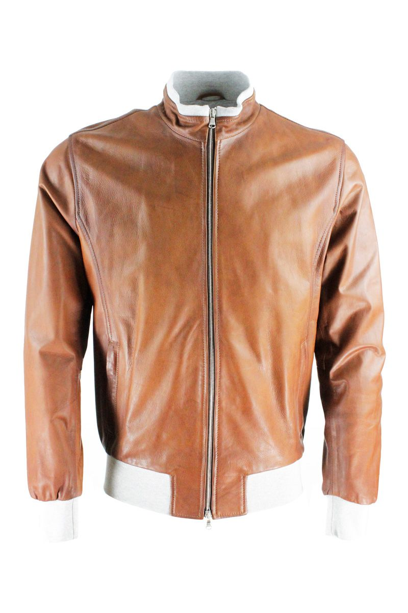 Barba Leathers BARBA MEN'S FOXLT400002 BROWN LEATHER OUTERWEAR JACKET