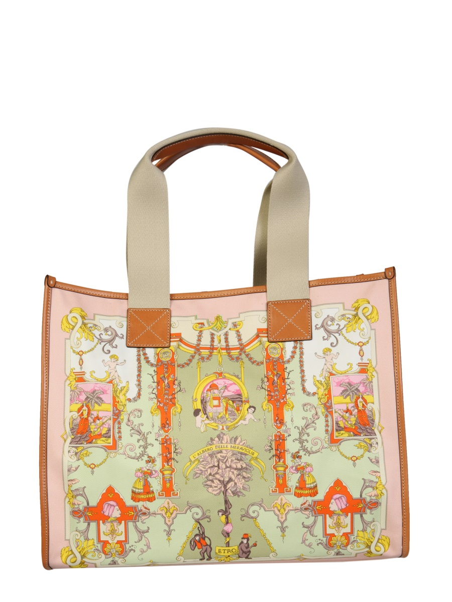 Etro Leathers SHOPPING BAG WITH ORNAMENTAL PRINT