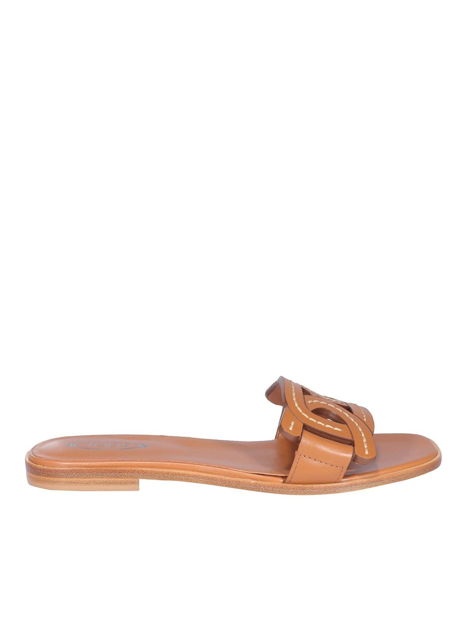 Tod's Leathers TOD'S WOMEN'S XXW05G0EM10MIDS410 BROWN LEATHER SANDALS