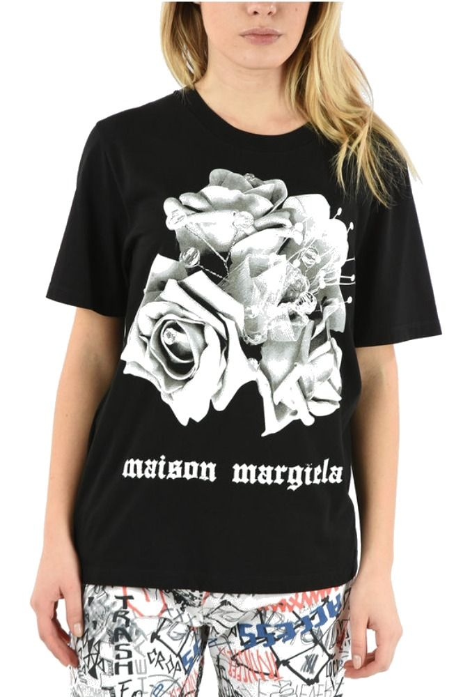 Maison Margiela MAISON MARGIELA WOMEN'S S32GC0559S23588900 BLACK COTTON T-SHIRT