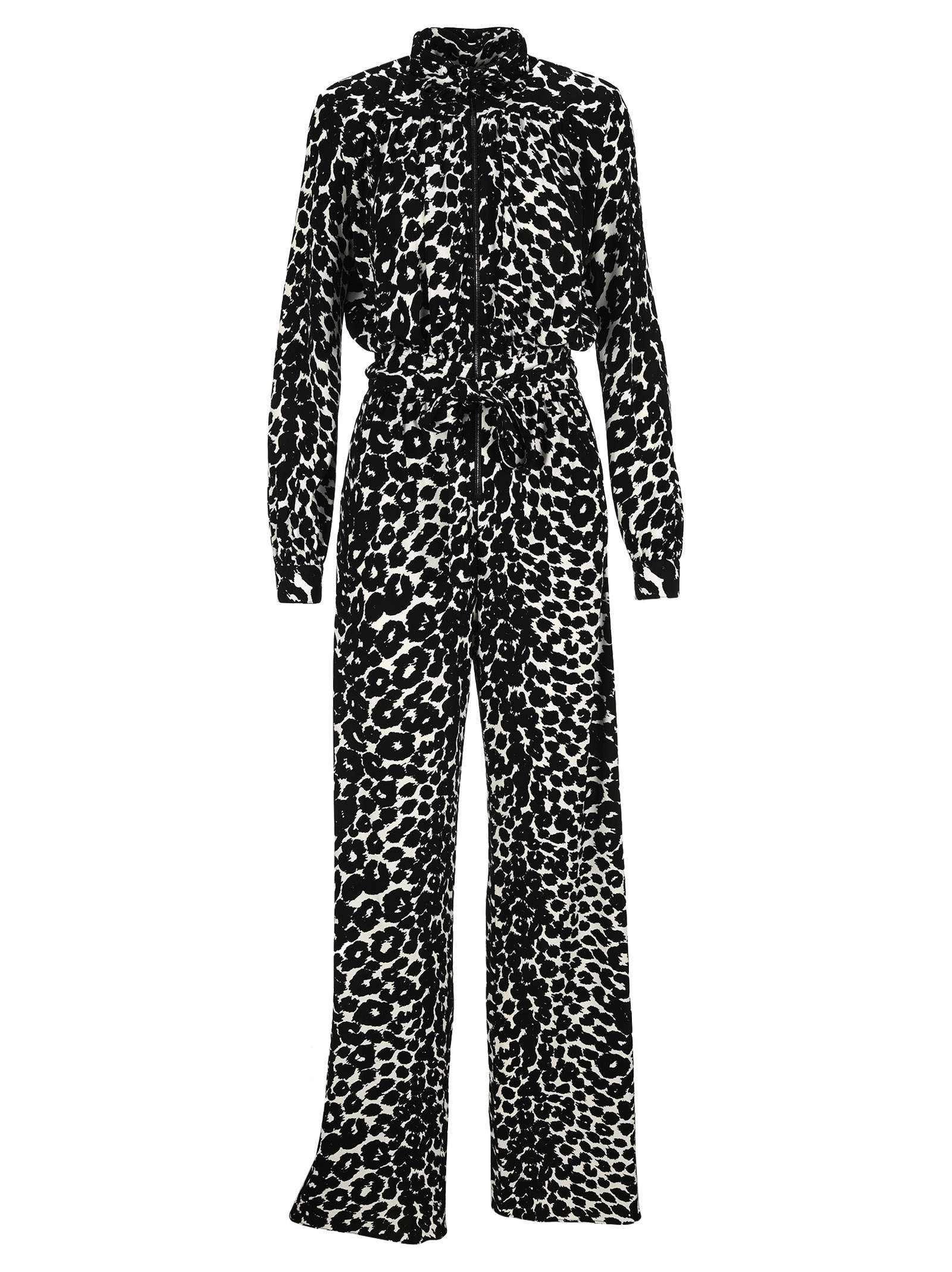 Tom Ford Ikat Leopard Print Crepe Jersey Zipped Jumpsuit In Black