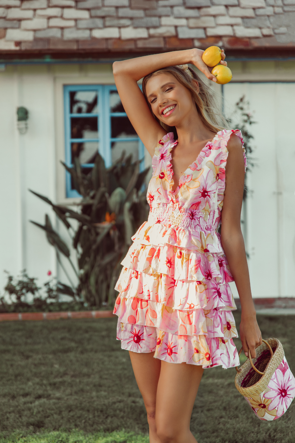 Sundress LOTILITA MINI LINEN DRESS IN RIVIERA PRINT