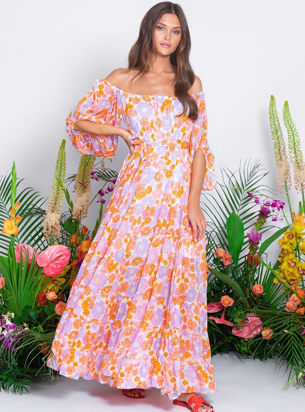 Sundress SALOME FLORAL OFF SHOULDER MAXI DRESS
